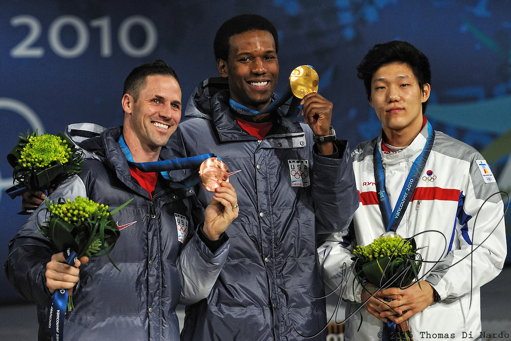 February 17, 2009 - 2010 Winter Olympics - Speedskating - Shani Davis (USA), Mo Tae-bum (KOR), and Chad Hedrick (USA) receive their Gold, Silver, and Bronze medals in the 1000m distance.