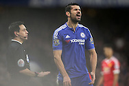 Diego Costa of Chelsea reacts in frustration after an argument with the assistant referee. . Barclays Premier league match, Chelsea v Manchester Utd at Stamford Bridge in London on Sunday 7th February 2016.<br /> pic by John Patrick Fletcher, Andrew Orchard sports photography.