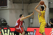 Maccabi Tel Aviv Basketball team (Yellow) Playing Hapoel Gilboa-Galil (Red) on October 16th 2011. Final result Maccabi 95 Hapoel 60 Guy Pnini