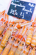 Langoustines on display for sale in food market at St Martin de Re, Ile de Re, France