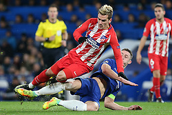 5 December 2017 - Champions League Football - Chelsea v Atletico Madrid - Gary Cahill of Chelsea tackles Antoine Griezmann of Atletico Madrid - Photo: Charlotte Wilson / Offside