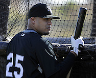 GLENDALE, AZ - FEBRUARY 23:  Andruw Jones #25 of the Chicago White Sox looks on during a spring training workout on February 23, 2010 at the White Sox training facility at Camelback Ranch in Glendale, Arizona. (Photo by Ron Vesely)