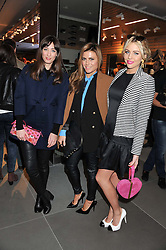 Left to right, LAURA JACKSON, ZOE HARDMAN and LYDIA BRIGHT at an invitation-only acoustic performance by Rita Ora hosted by Calvin Klein Jeans at their Regent Street Store, London on 18th February 2013.