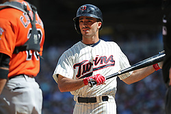 July 8, 2017 - Minneapolis, MN, USA - The Minnesota Twins' Zack Granite makes his major league debut with an eighth-inning plate appearance against the Baltimore Orioles at Target Field in Minneapolis on Saturday, July 8, 2017. The Orioles won, 5-1. (Credit Image: © Shari L. Gross/TNS via ZUMA Wire)