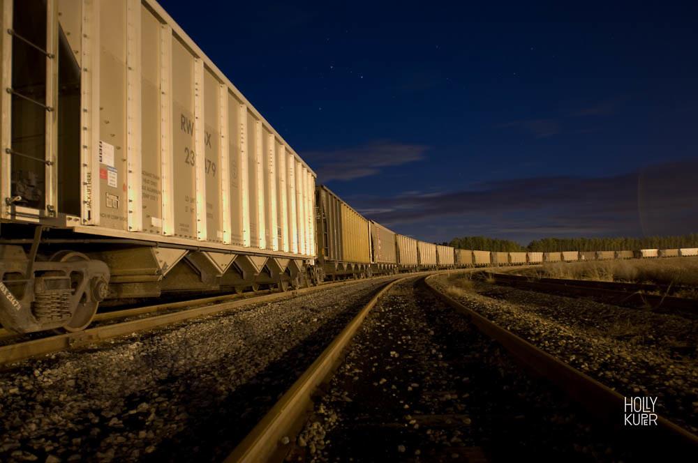 Rail cars carrying coal