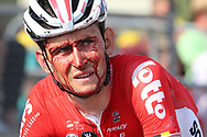 Tiesj Benoot (BEL - Lotto Soudal) injury during the Tour de France 2018, Stage 4, Team Time Trial, La Baule - Sarzeau (195 km) on July 10th, 2018 - Photo Kei Tsuji / BettiniPhoto / ProSportsImages / DPPI