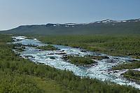 Flowing water of Vuojatädno river along Padjelantaleden Trail, Lapland, Sweden