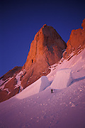 Apporaching Aguja Poincenot at dawn, Fitz Roy range, Patagonia