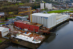 Aerial view of recently nationalised Ferguson Marine shipyard on the Clyde at Port Glasgow, Scotland ,UK