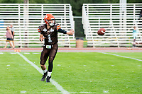 KELOWNA, BC - AUGUST 17:  Alex Douglas #1 of Okanagan Sun catches the ball during pre game warm up against the Westshore Rebels  at the Apple Bowl on August 17, 2019 in Kelowna, Canada. (Photo by Marissa Baecker/Shoot the Breeze)