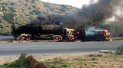 KARACHI, Sept. 7, 2016 (Xinhua) -- Photo taken on Sept. 7, 2016 shows a burning oil tanker at the accident site near southern Pakistani port city of Karachi. At least three people died after a brutal collision of an oil tanker with numerous vehicles near Karachi's Super Highway on Wednesday, local media reported. (Xinhua/Stringer).****Authorized by ytfs* (Credit Image: © Stringer/Xinhua via ZUMA Wire)