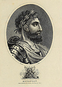 Xenophon of Athens (c.430 – 354 BC) was an Athenian-born military leader, philosopher, and historian. At the age of 30, Xenophon was elected a commander of one of the biggest Greek mercenary armies, the Ten Thousand, that marched on and came close to capturing Babylon in 401 BC. Copperplate engraving From the Encyclopaedia Londinensis or, Universal dictionary of arts, sciences, and literature; Volume VIII;  Edited by Wilkes, John. Published in London in 1810.