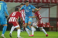 PIRAEUS, GREECE - OCTOBER 21: Florian Thauvin of Olympique de Marseille and  Mathieu Valbuena of Olympiacos FC during the UEFA Champions League Group C stage match between Olympiacos FC and Olympique de Marseille at Karaiskakis Stadium on October 21, 2020 in Piraeus, Greece. (Photo by MB Media)