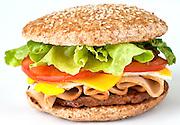 Tony breakfast sandwich. Sausage, Turkey egg, cheese, lettuce & tomato on a wheat bun. A specialy breakfast at Dezereta Inc. located in Colorado City, AZ.