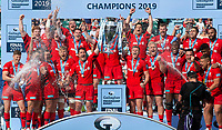 Rugby Union - 2019 Gallagher Premiership Final - Exeter Chiefs vs Saracens<br /><br />Saracens' Brad Barritt and Owen Farrell lift the trophy, at Twickenham Stadium.  <br /><br />COLORSPORT / ALAN WALTER