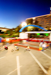 Stock photo of wheelchair participants crossing the finish line at the Houston marathon
