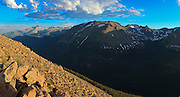 USA, Colorado, Rocky Mountain National Park, Long's Peak from Forest Canyon Overlook, digitial composite, panorama