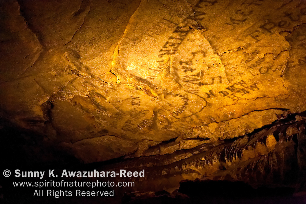 Historic smoke signatures on cave ceiling, Mammoth Cave National Park, Kentucky.