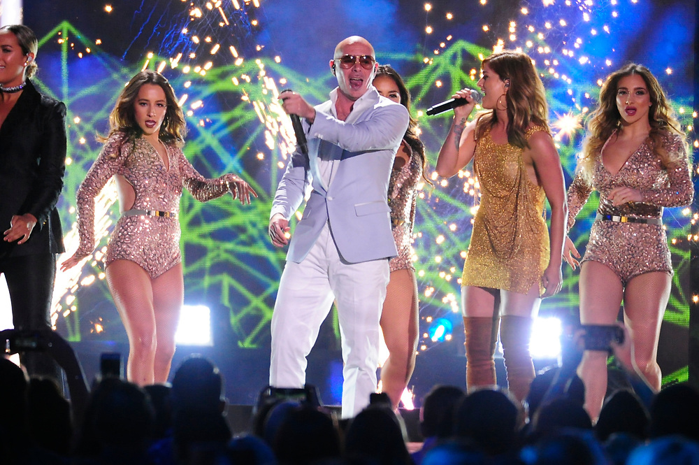 NASHVILLE, TN - JUNE 08: , Pitbull performs onstage during the 2016 CMT Music awards at the Bridgestone Arena on June 8, 2016 in Nashville, Tennessee.