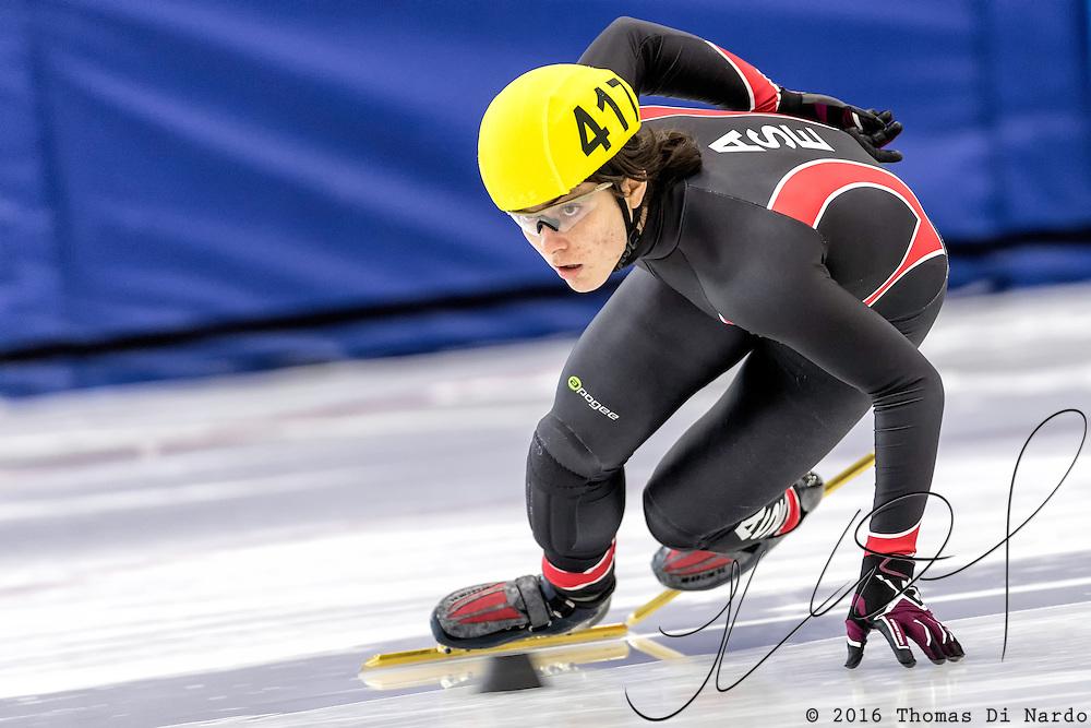 December 17, 2016 - Kearns, UT - Gunnar Olsen skates during US Speedskating Short Track Junior Nationals and Winter Challenge Short Track Speed Skating competition at the Utah Olympic Oval.