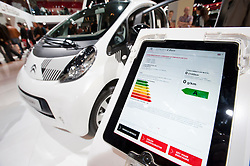 Technical information display showing zero C02 emissions from Citroen ION electric car at Paris Motor Show 2010