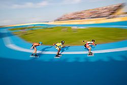 BUENOS AIRES, Oct. 9, 2018  Jhony Andres Angulo Reina (C) of Colombia competes during the men's combined 500m sprint final of the roller speed skating event at the 2018 Summer Youth Olympic Games in Buenos Aires, Argentina on Oct.8, 2018. (Credit Image: © Li Ming/Xinhua via ZUMA Wire)