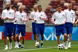 Russia's Aleksandr Samedov (centre) and team-mates during a training session inside the Luzhniki Stadium in Moscow