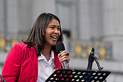 San Francisco, USA. 19th January, 2019. The Women's March San Francisco begins with a rally at Civic Center Plaza in front of City Hall. San Francisco Mayor London Breed addresses the crowd. Credit: Shelly Rivoli/Alamy Live News