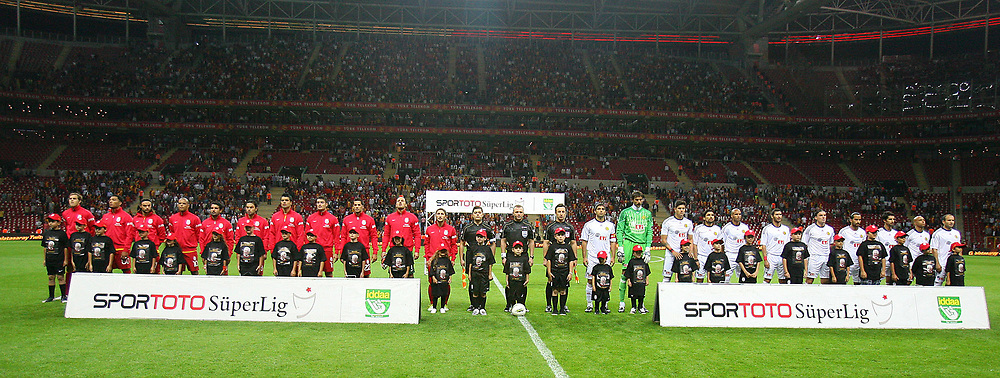 Galatasaray's and Eskisehirspor's players during their Turkish Super League soccer match Galatasaray between Eskisehirspor at the TT Arena at Seyrantepe in Istanbul Turkey on Monday, 26 September 2011. Photo by TURKPIX