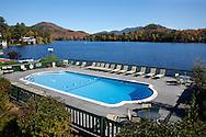 A Hotel Swimming Pool Overlooking Lake Placid, Adirondack Mountains, New York, USA