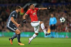 31st October 2017 - UEFA Champions League - Group A - Manchester United v SL Benfica - Anthony Martial of Man Utd battles with Ruben Dias of Benfica - Photo: Simon Stacpoole / Offside.