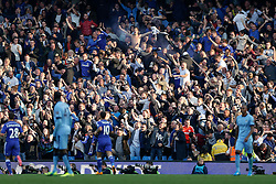 Chelsea fans celebrate after Andre Schurrle of Chelsea scores the opening goal of the game - Photo mandatory by-line: Rogan Thomson/JMP - 07966 386802 - 21/08/2014 - SPORT - FOOTBALL - Manchester, England - Etihad Stadium - Manchester City v Chelsea FC - Barclays Premier League.