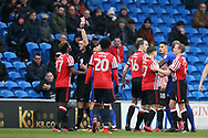 Didier Ndong of Sunderland (l) is shown red card and sent off by referee Andrew Madley after a bad tackle/foul on Junior Hoilett of Cardiff city (out of pic).EFL Skybet championship match, Cardiff city v Sunderland at the Cardiff city stadium in Cardiff, South Wales on Saturday 13th January 2018.<br /> pic by Andrew Orchard, Andrew Orchard sports photography.