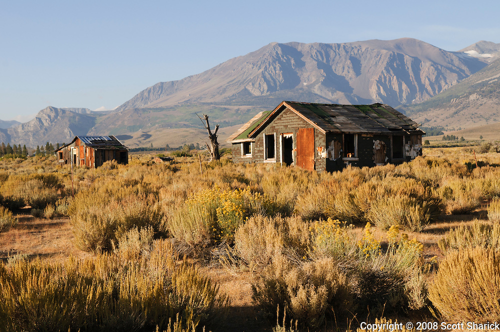 Two structures sit abandoned near the Sierra Mountains of California.