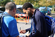 AFC Wimbledon striker Andy Barcham (17) signing at#utographs during the EFL Sky Bet League 1 match between AFC Wimbledon and Portsmouth at the Cherry Red Records Stadium, Kingston, England on 13 October 2018.