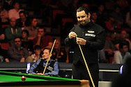 Stephen Maguire of Scotland during his match against Andrew Pagett of Wales.  Bet Victor Welsh open snooker at the Newport centre in Newport, South Wales on Wed 26th Feb 2014.<br /> pic by Andrew Orchard, Andrew Orchard sports photography.