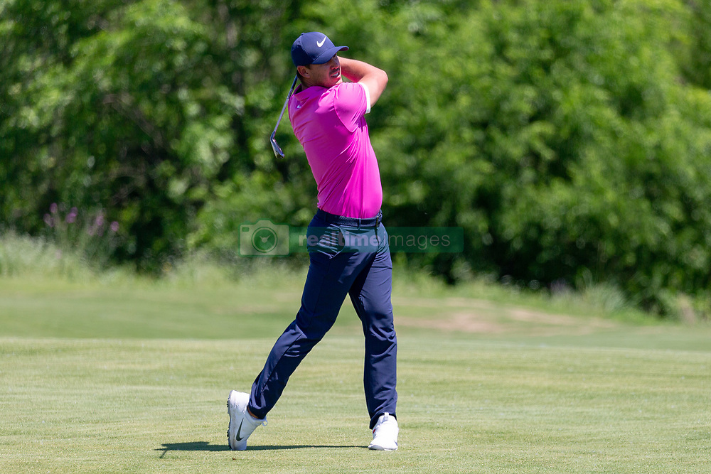May 12, 2019 - Dallas, TX, U.S. - DALLAS, TX - MAY 12: Brooks Koepka hits his approach shot on #7 during the final round of the AT&T Byron Nelson on May 12, 2019 at Trinity Forest Golf Club in Dallas, TX. (Photo by Andrew Dieb/Icon Sportswire) (Credit Image: © Andrew Dieb/Icon SMI via ZUMA Press)
