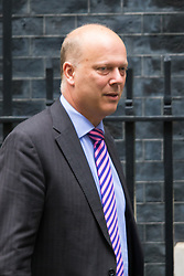 Downing Street, London, September 15th 2015.  Leader of the Commons Chris Grayling leaves 10 Downing Street after attending the weekly cabinet meeting.
