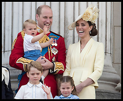 June 8, 2019 - London, London, United Kingdom - Image licensed to i-Images Picture Agency. 08/06/2019. London, United Kingdom. The Duke and Duchess of Cambridge with their children Prince George, Princess Charlotte and Prince Louis on the balcony of Buckingham Palace at Trooping the Colour in London. (Credit Image: © Stephen Lock/i-Images via ZUMA Press)