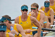 Shunyi, CHINA.  Start of a heat of the men's eights,  AUS M8+  James [Jimmy] TOMKINS the start pontoon. 2008 Olympic Regatta, Shunyi Rowing Course. Monday. 11.08.2008  [Mandatory Credit: Peter SPURRIER, Intersport Images]
