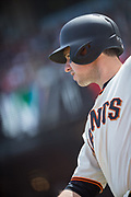 San Francisco Giants first baseman Buster Posey (28) warms up in the batter's box against the Los Angeles Dodgers at AT&T Park in San Francisco, California, on April 27, 2017. (Stan Olszewski/Special to S.F. Examiner)
