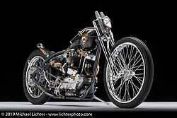 70's Helmets' Fabrizio Caoduro commissioned Andrea Radaelli of Radical Choppers Milano to build The Skinny, a custom Harley-Davidson Ironhead XLCH 1000. Photographed by Michael Lichter, in Sturgis, SD. July 29, 2019. ©2019 Michael Lichter
