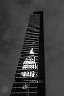 New York, Metropolitan life building reflection on One Madisson mirror tower on 23rd street