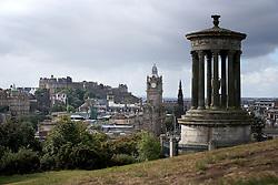 General view of Edinburgh, Scotland, looking towards Edinburgh Castle, the Balmoral Clock an the Dugald Stewart Monument.
