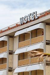 THEMENBILD - Aussenfassade eines Hotels mit Schriftzug, aufgenommen am 24. Juni 2018 in Viareggio, Italien // Exterior of a hotel with lettering, Viareggio, Italy on 2018/06/24. EXPA Pictures © 2018, PhotoCredit: EXPA/ JFK