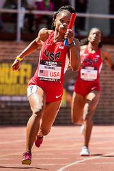Penn Relays, USA vs the World, womens 4 x 200 meter relay, Tawanna Meadows, USA