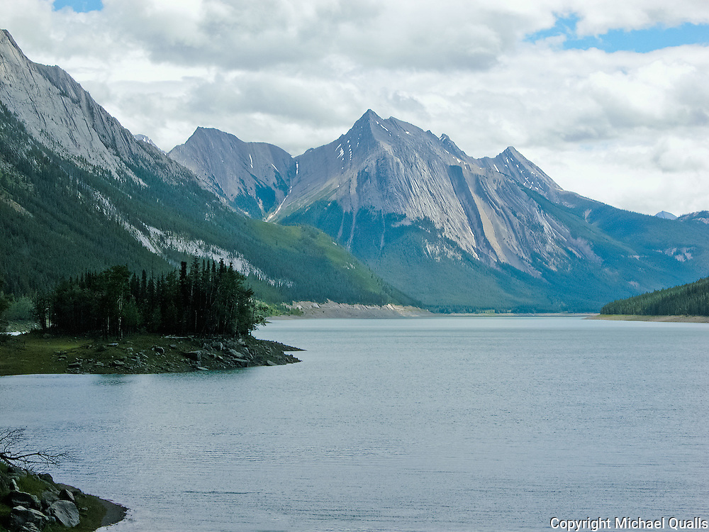 Medicine Lake with water in Jasper NP.  (Sometimes, it's empty.)
