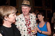 BOB AND ROBERTA SMITH, Tate Britain Summer party. Tate. Millbank. 27 June 2011. <br /> <br />  , -DO NOT ARCHIVE-© Copyright Photograph by Dafydd Jones. 248 Clapham Rd. London SW9 0PZ. Tel 0207 820 0771. www.dafjones.com.