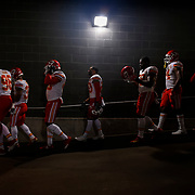 Kansas City Chiefs defensive players walked from the locker room to the field before the game against the New York Giants on November 19, 2017 at MetLife Stadium in East Rutherford, New Jersey.