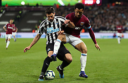 Newcastle United's Fabian Schar (left) and West Ham United's Felipe Anderson battle for the ball during the Premier League match at London Stadium.